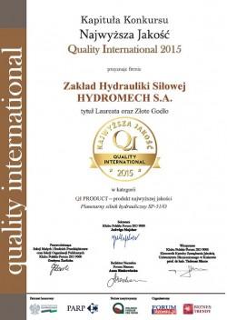 Hydromech_Certyfikat_Najwyższa Jakość_2015